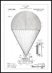 Patentritning - Luftskepp - Vit Poster