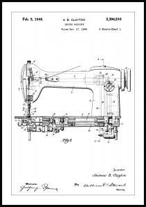 Patentritning - Symaskin I Poster