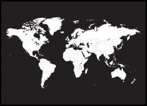Världskarta Vit Med Svart Bakgrund Poster