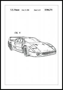 Patentritning - Ferrari F40 II Poster