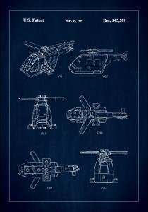 Patent Print - Lego Helicopter - Blue Poster