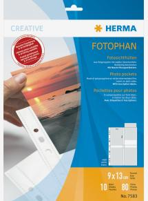 Herma fotofickor 9x13 cm stående - 10-pack vita