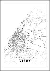 Karta - Visby - Vit Poster