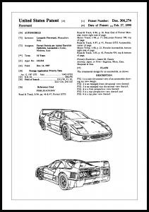 Patentritning - Ferrari F40 I Poster