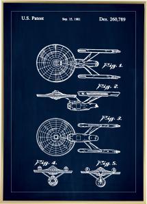 Patentritning - Star Trek - USS Enterprise - Blå Poster