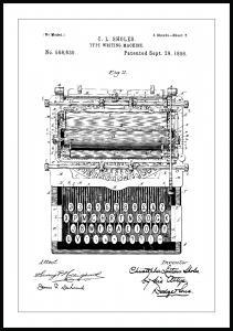 Patentritning - Skrivmaskin Poster