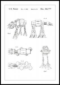 Patentritning - Star Wars - Walker - Vit Poster