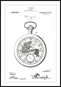 Patentritning - Fickur - Vit Poster