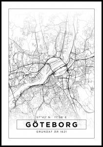 Karta - Göteborg - Vit Poster