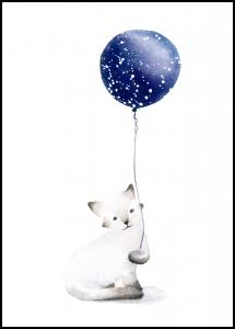 Cat With Balloon Poster