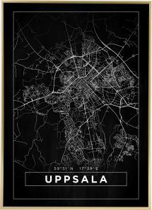 Karta - Uppsala - Svart Poster