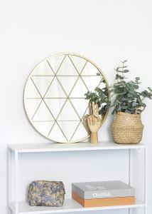 KAILA Rund Spegel Triangles - Guld 55 cm Ø