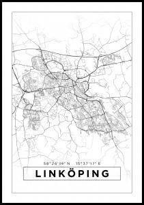 Karta - Linköping - Vit Poster