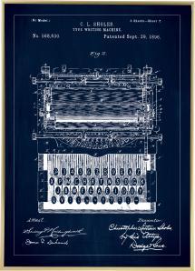 Patentritning - Skrivmaskin - Blå Poster