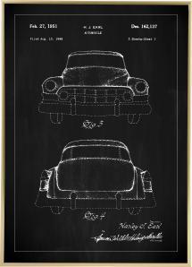 Patentritning - Cadillac II - Svart Poster