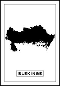 Karta - Blekinge - Vit Poster