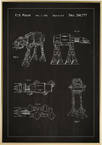 Patentritning - Star Wars - Walker - Svart Poster