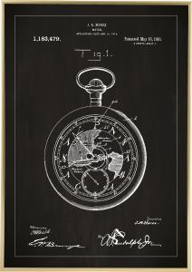 Patentritning - Fickur - Svart Poster