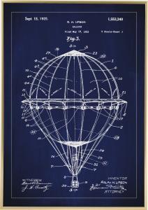 Patentritning - Luftballong - Blå Poster