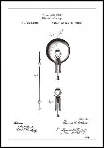 Patentritning - Glödlampa B - Vit Poster