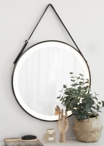 KAILA Spegel Svart LED 60 cm Ø