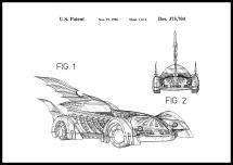 Patentritning - Batman - Batmobile 1996 I Poster