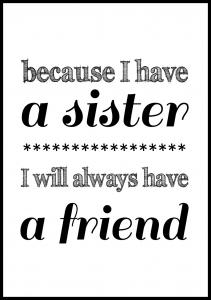 Because i have a sister - Svart Poster