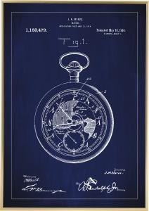 Patentritning - Fickur - Blå Poster