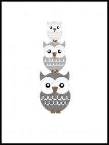 Bildverkstad Owl Family - Grey