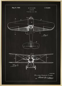 Patentritning - Flygplan - Svart Poster