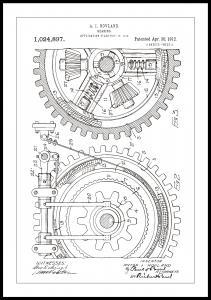 Patentritning - Kugghjul - Vit Poster