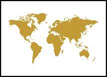 Världskarta Guld Poster