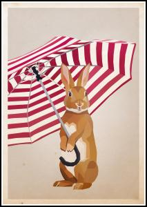 Rabbit with Umbrella Poster