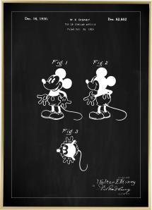 Patentritning - Disney - Musse Pigg - Svart Poster