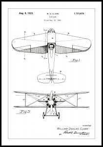 Patentritning - Flygplan - Vit Poster