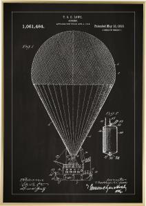 Patentritning - Luftskepp - Svart Poster