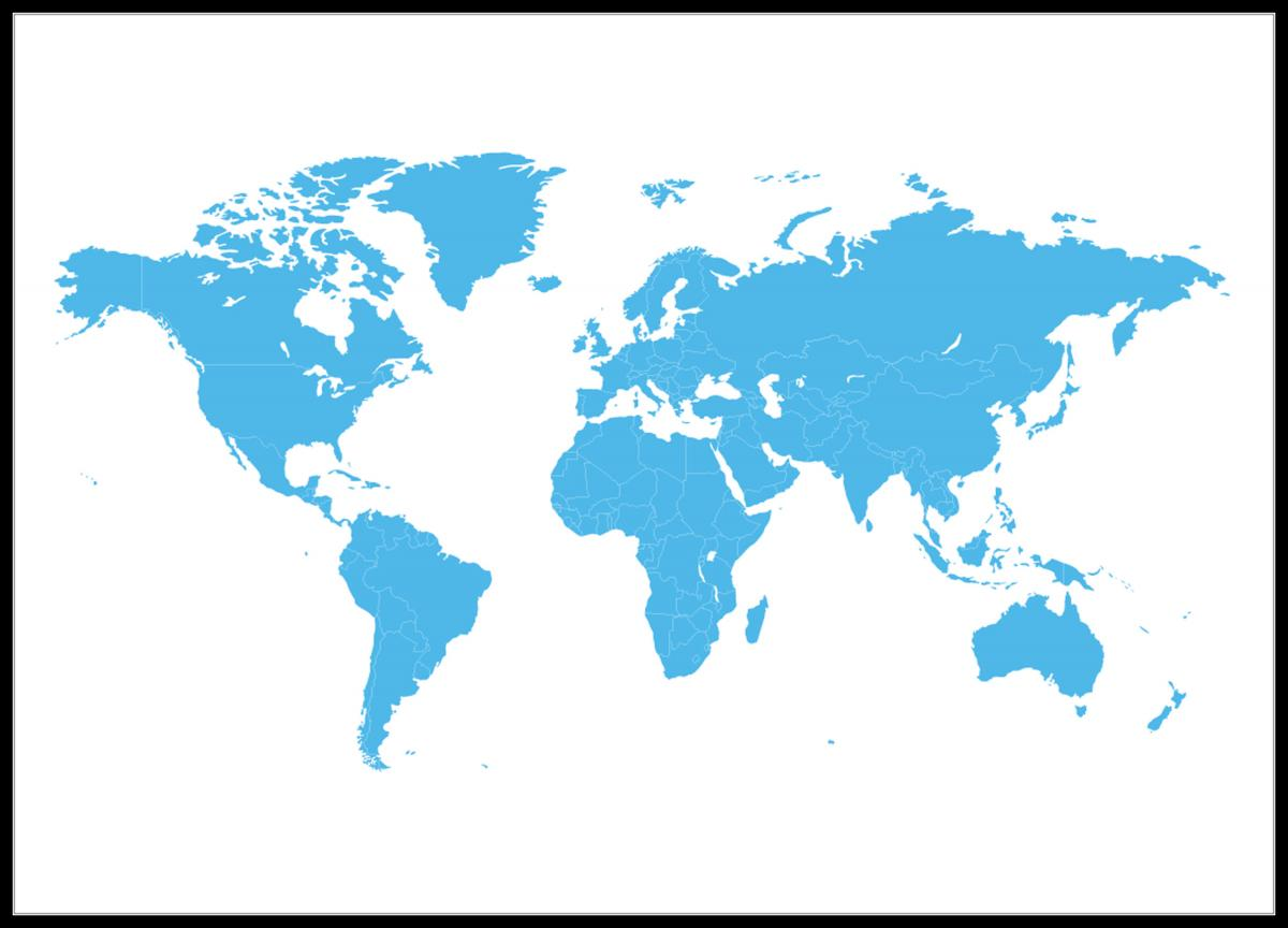 Map Of The World Blue The Nordic Walls