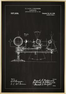 Patentritning - Planetarium - Svart Poster