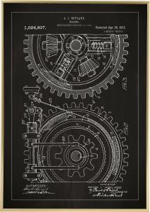 Patentritning - Kugghjul - Svart Poster
