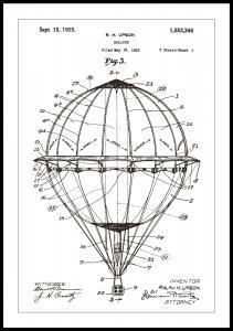 Patentritning - Luftballong - Vit Poster
