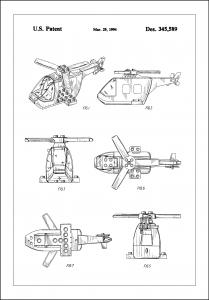 Patent Print - Lego Helicopter - White Poster