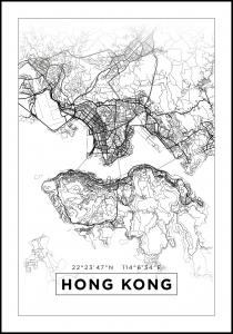 Karta - Hong Kong - Vit Poster