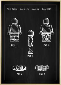 Patentritning - Lego I - Svart Poster