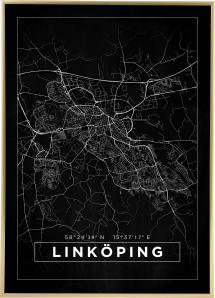 Karta - Linköping - Svart Poster