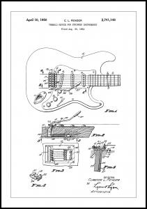 Patent Print - Tremolo Device - White Poster