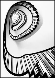Spiral stairs BW Poster