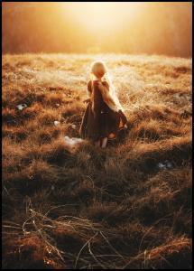 Girl walks in the dew Poster