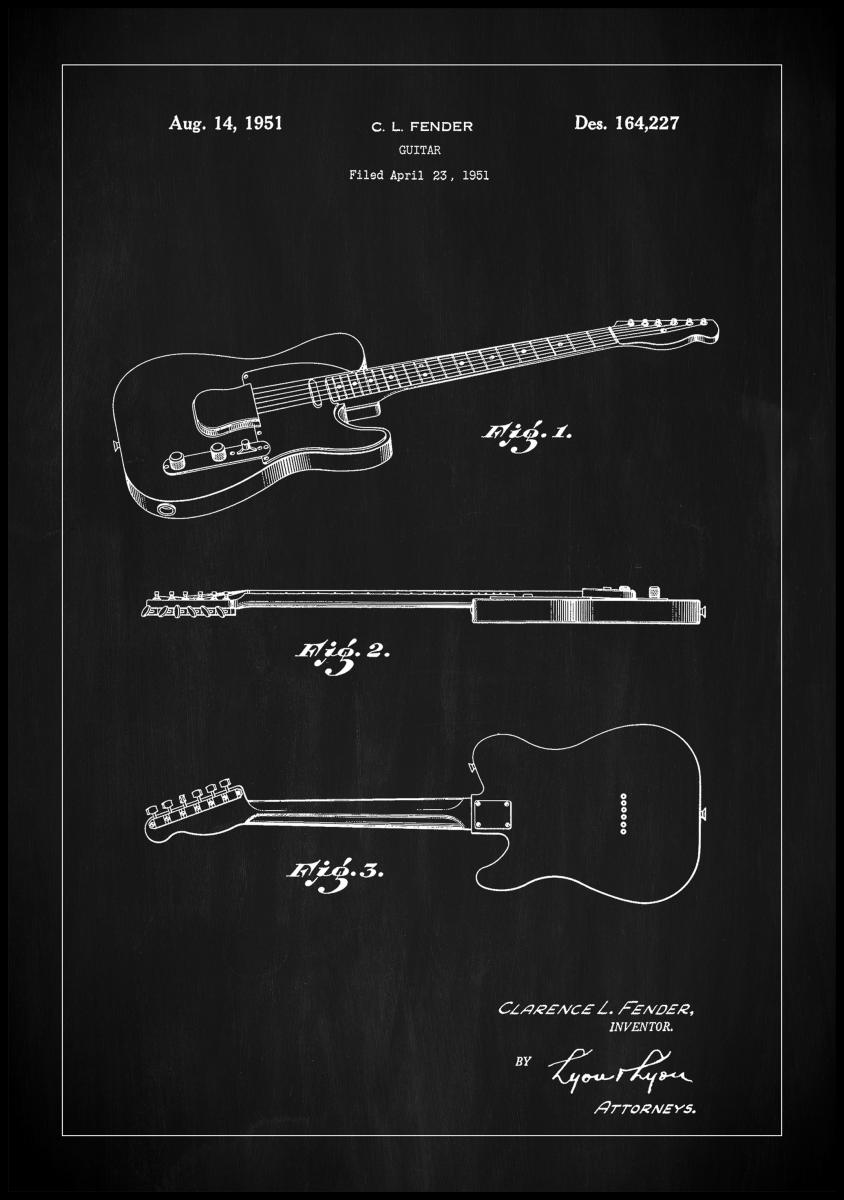 Patent Print - Guitar - Black