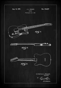 Patent Print - Guitar - Black Poster