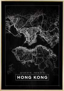Karta - Hong Kong - Svart Poster